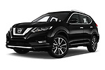 Stock pictures of low aggressive front three quarter view of a 2019 Nissan X-Trail Tekna 5 Door SUV