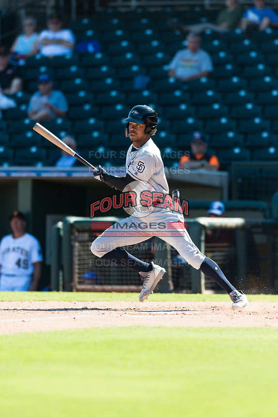 Peoria Javelinas left fielder Buddy Reed (85), of the San Diego Padres organization, starts down the first base line during an Arizona Fall League game against the Surprise Saguaros at Surprise Stadium on October 17, 2018 in Surprise, Arizona. (Zachary Lucy/Four Seam Images)