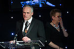 © Joel Goodman - 07973 332324 . 03/03/2016 . Manchester , UK . Michael Hardacre , president of Manchester Law Society and Fran Eccles-Bech on the stage at the ceremony . The Manchester Legal Awards from the Midland Hotel . Photo credit : Joel Goodman