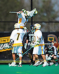 3 April 2010: University of Vermont Catamounts' Attacker Derek Lichtfuss, a Junior from Lutherville, MD, celebrates a goal against the Binghamton University Bearcats at Moulton Winder Field in Burlington, Vermont. The Catamounts defeated the visiting Bearcats 11-8 in Vermont's opening home game of the 2010 season. Mandatory Credit: Ed Wolfstein Photo