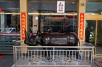 TANZANIA Daressalaam, chinese owned Hotel with Rhino sculpture