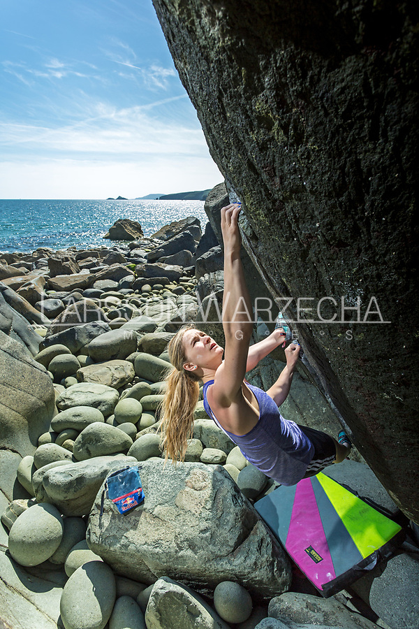 Shauna Coxsey bouldering at Porth Ysgo, North Wales, United Kingdom