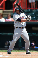 Binghamton Mets designated hitter Brian Burgamy (7) at bat during a game against the Erie Seawolves on July 13, 2014 at Jerry Uht Park in Erie, Pennsylvania.  Binghamton defeated Erie 5-4.  (Mike Janes/Four Seam Images)