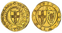 BNPS.co.uk (01202 558833)<br /> Pic: Spink/BNPS<br /> <br /> Pictured: Commonwealth, Double Crown, 1651 - estimate at £10,000 with a noteworthy error - Commonwealth is spelled with three Ms!<br /> <br /> The family of a late steeplejack are celebrating today after his incredible collection of rare coins sold for a whopping £2.8m.<br /> <br /> The 52 coins from the Tudor and Stuart periods were amassed by prolific collector Horace Hird over 50 years.<br /> <br /> He died in 1973 and it had been presumed he had sold all his coins while he was still alive. But a descendant found dozens of them still wrapped with their paperwork dating back to the 1960s.