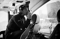 Having made the 'maglia rosa' 1 of his last season's objectives, Fabian Cancellara (SUI/Trek-Segafredo) saw his chances seriously compromised by stomach symptoms the days before the prologue.<br /> <br /> Fabian on the team bus in Apeldoorn ahead of the prologue recon<br /> <br /> 99th Giro d'Italia 2016