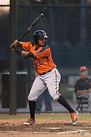AZL Giants Orange first baseman Beicker Mendoza (31) at bat during an Arizona League game against the AZL Athletics at Lew Wolff Training Complex on June 25, 2018 in Mesa, Arizona. AZL Giants Orange defeated the AZL Athletics 7-5. (Zachary Lucy/Four Seam Images)