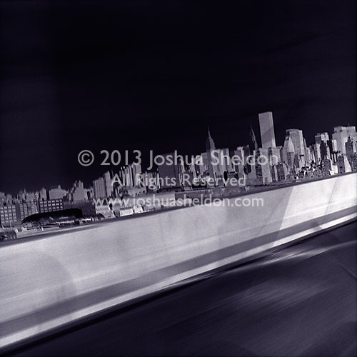 View towards of Manhattan from the 59th Street Bridge - Negative view<br />
