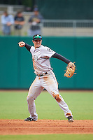Jackson Generals shortstop Jack Reinheimer (29) throws to first during a game against the Montgomery Biscuits on April 29, 2015 at Riverwalk Stadium in Montgomery, Alabama.  Jackson defeated Montgomery 4-3.  (Mike Janes/Four Seam Images)
