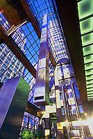 Pendulum swinging in Atrium of HSBC Building, Vancouver, BC, British Columbia, Canada - Kinetic Art (artist: Alan Storey)