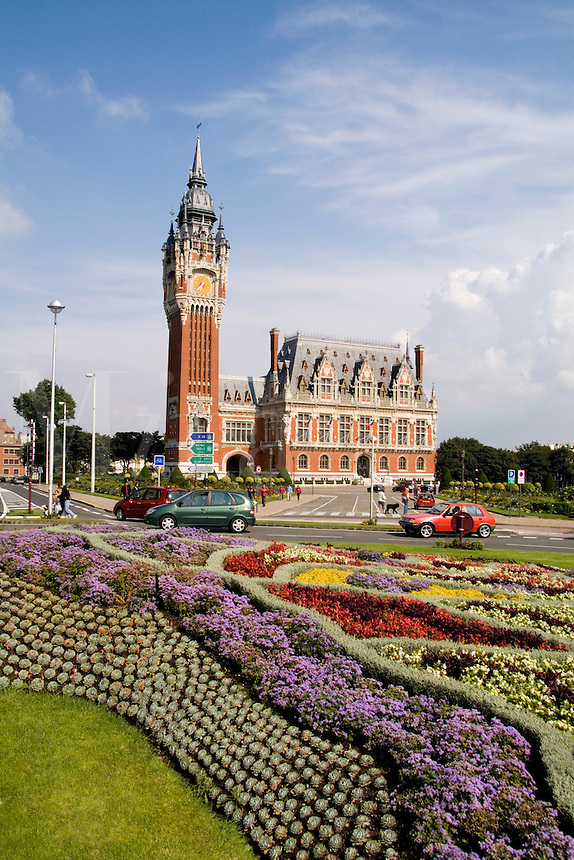 Flower garden at Hotel de Ville, Calais, France
