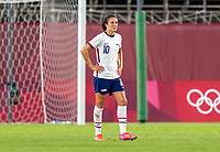KASHIMA, JAPAN - AUGUST 2: Carli Lloyd #10 of the USWNT reacts after the game between Canada and USWNT at Kashima Soccer Stadium on August 2, 2021 in Kashima, Japan.