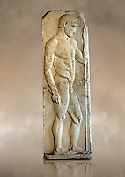 Severe Style (480 - 450 B.C, Greek Marble Funerary Stele of an athlete from Nisyros (Incir Ada) one of the Foça Islands, . Istanbul Archaeological Museum, Turkey. Inv. No 1142T. Cat. Mendel 11.