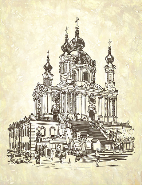Original digital drawing of Saint Andrew orthodox church by Rastrelli in Kyiv (Kiev), Ukraine, engraving style on old paper grunge background