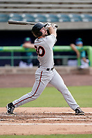 Left fielder Trevor Kehe (30) of the Delmarva Shorebirds in a game against the Lynchburg Hillcats on Wednesday, August 11, 2021, at Bank of the James Stadium in Lynchburg, Virginia. (Tom Priddy/Four Seam Images)