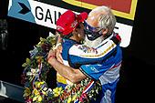 #30: Takuma Sato, Rahal Letterman Lanigan Racing Honda celebrates winning the Indianapolis 500