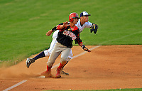 7 July 2008: Batavia Muckdogs' infielder Jose Garcia slides safely into third during a game against the Vermont Lake Monsters at Centennial Field in Burlington, Vermont. The Lake Monsters defeated the Muckdogs 3-2 in the final game of their 3-game series...Mandatory Photo Credit: Ed Wolfstein Photo