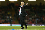 An animated Wales rugby coach Warren Gatland gestures to someone in the crowd.<br /> RBS 6 Nations 2014<br /> Wales v Italy<br /> Millennium Stadium<br /> 01.02.14<br /> <br /> ©Steve Pope-SPORTINGWALES