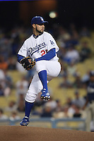 Esteban Loaiza of the Los Angeles Dodgers during a 2007 MLB season game at Dodger Stadium in Los Angeles, California. (Larry Goren/Four Seam Images)