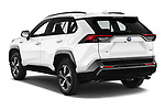 Car pictures of rear three quarter view of 2021 Toyota RAV4-Hybride-Rechargeable Premium-Plus 5 Door SUV Angular Rear