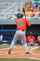 Myles Straw (12) of the Greeneville Astros at bat against the Kingsport Mets at Hunter Wright Stadium on July 7, 2015 in Kingsport, Tennessee.  The Mets defeated the Astros 6-4. (Brian Westerholt/Four Seam Images)