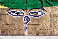 Kathmandu, Nepal.  The Harmika (Square Base) Portion of the Swayambhunath Stupa, with the Watchful Eyes of the Buddha.  Below the eyes is the Nepali number one, symbolizing the unity of life.