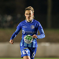 Emma Van Britsom (6) of AA Gent pictured during a female soccer game between FC Femina White Star Woluwe and AA Gent Ladies on the 13 th matchday of the 2020 - 2021 season of Belgian Scooore Womens Super League , friday 5 th of February 2021  in Woluwe , Belgium . PHOTO SPORTPIX.BE | SPP | SEVIL OKTEM