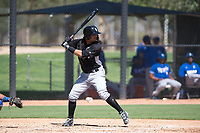 Chicago White Sox second baseman Amado Nunez (15) at bat during an Instructional League game against the Kansas City Royals at Camelback Ranch on September 25, 2018 in Glendale, Arizona. (Zachary Lucy/Four Seam Images)
