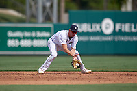 Detroit Tigers shortstop Gage Workman (27) fields a ground ball during a Florida Instructional League game against the Pittsburgh Pirates on October 16, 2020 at Joker Marchant Stadium in Lakeland, Florida.  (Mike Janes/Four Seam Images)