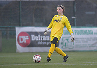 goalkeeper Ambre Collet (1) of Sporting Charleroi  pictured during a female soccer game between SV Zulte - Waregem and Sporting Charleroi on the eleventh matchday of the 2020 - 2021 season of Belgian Scooore Womens Super League , saturday 23 th of January 2021  in Zulte , Belgium . PHOTO SPORTPIX.BE | SPP | DIRK VUYLSTEKE