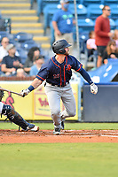 Bowling Green Hot Rods Evan Edwards (16) swings at a pitch during a game against the Asheville Tourists on May 25, 2021 at McCormick Field in Asheville, NC. (Tony Farlow/Four Seam Images)
