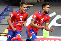 PASTO - COLOMBIA, 21-02-2021: Jeison Medina del Pasto celebra después de anotar el primer gol de su equipo partido por la fecha 8 como parte de la Liga BetPlay DIMAYOR I 2021 entre Deportivo Pasto y Jaguares de Córdoba jugado en el estadio Departamental La Libertad de Pasto. / Jeison Medina of Pasto celebrates after scoring the first goal of his team during match for the date 8 as part of BetPlay DIMAYOR League I 2021 between Deportivo Pasto and Jaguares de Cordoba played at Departamental La Libertad stadium in Pasto.  Photo: VizzorImage / Leonardo Castro / Cont