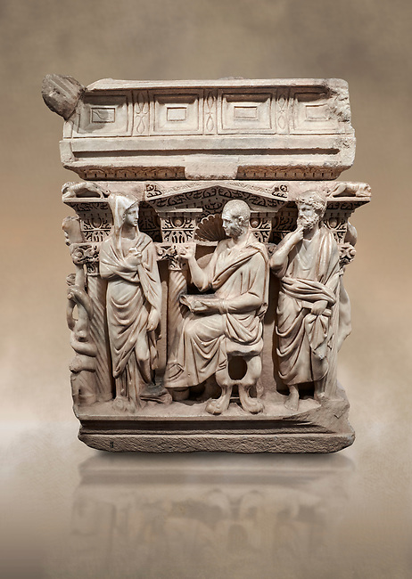 """End panel of a Roman relief sculpted Hercules sarcophagus with kline couch lid, """"Columned Sarcophagi of Asia Minor"""" style typical of Sidamara, 250-260 AD, Konya Archaeological Museum, Turkey. Against a warm art background."""