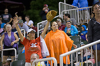 Kannapolis Intimidators fans wave their arms hoping to catch a free t-shirt between innings of the South Atlantic League game against the Delmarva Shorebirds at Kannapolis Intimidators Stadium on July 3, 2017 in Kannapolis, North Carolina.  The Shorebirds defeated the Intimidators 5-2.  (Brian Westerholt/Four Seam Images)