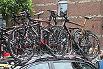 BMC Racing Team bikes atop the team car before the start of Stage 2 of the 99th edition of the Tour de France 2012, running 207.5km from Vise to Tournai, Belgium. 2nd July 2012.<br /> (Photo by Eoin Clarke/NEWSFILE)