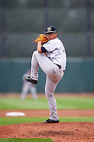 Kane County Cougars starting pitcher Bo Takahashi (32) delivers a pitch during the first game of a doubleheader against the Cedar Rapids Kernels on May 10, 2016 at Perfect Game Field in Cedar Rapids, Iowa.  Kane County defeated Cedar Rapids 2-0.  (Mike Janes/Four Seam Images)