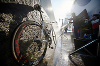 111th Paris-Roubaix 2013..dirty dustbikes need some serious cleaning by mechanic Steven Van Olmen