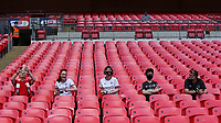 Brentford fans adhere to the social distancing guidelines during Brentford vs Swansea City, Sky Bet EFL Championship Play-Off Final Football at Wembley Stadium on 29th May 2021