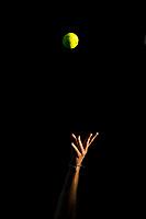 14th February 2021, Melbourne, Victoria, Australia; Dominic Thiem of Austria serves the ball during round 4 of the 2021 Australian Open on February 14 2020, at Melbourne Park in Melbourne, Australia.