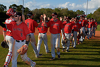 Ball State Cardinals Noah Navarro (8), Ryan Peltier (7), John Ricotta (31), William Baker (32), Brendan Burns (35), Nick Powell (9) after a game against the Mount St. Mary's Mountaineers on March 9, 2019 at North Charlotte Regional Park in Port Charlotte, Florida.  Ball State defeated Mount St. Mary's 12-9.  (Mike Janes/Four Seam Images)