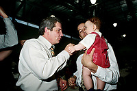 Montreal (Qc) CANADA - May 17 1998<br /> -File Photo -<br /> <br /> Jean Dore , Montreal Mayor, RCM Leader  (L) and a baby.