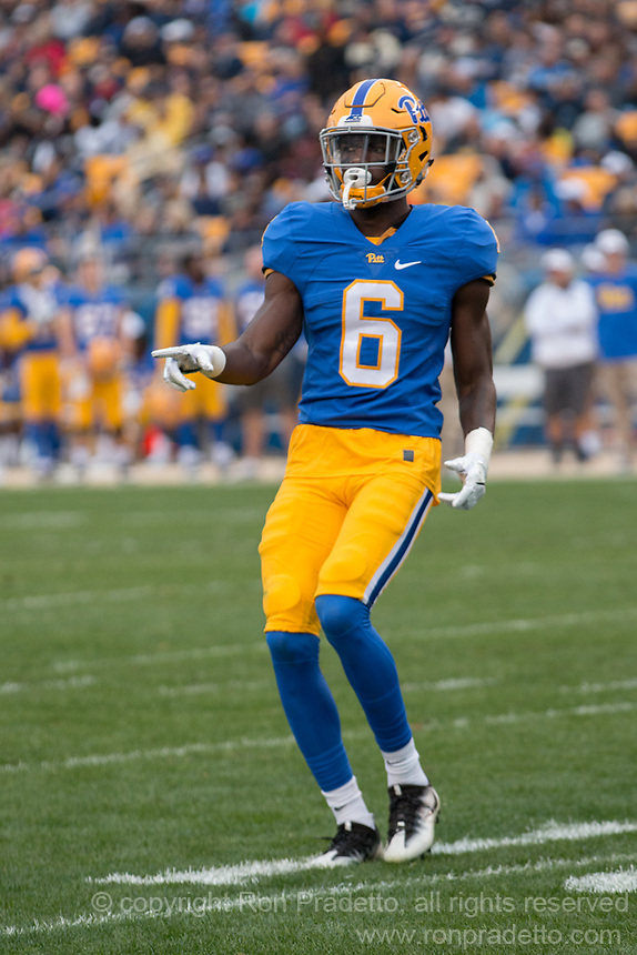 Pitt wide receiver Aaorn Mathews. The Pitt Panthers defeated the Georgia Tech Yellow Jackets 37-34 at Heinz Field in Pittsburgh, Pennsylvania on October 08, 2016.