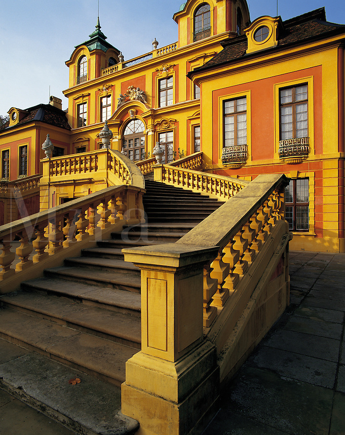 "Main stone staircase leading to the front of the ""Favorit"" palace in the grounds of Ludwigsburg Palace, southern German"