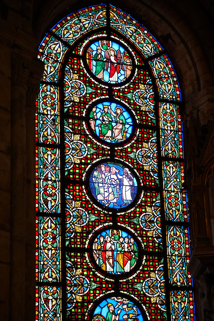 12th century medieval Gothic stained glass window showing  the hebrew  profit Visions of  Ezekiel . The Gothic Cathedral Basilica of Saint Denis ( Basilique Saint-Denis ) Paris, France. A UNESCO World Heritage Site.