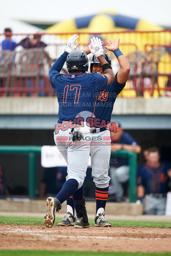 Bowing Green Hot Rods Manny Sanchez (17) celebrates with David Rodriguez (7) after hitting a home run during a game against the Burlington Bees on May 7, 2016 at Community Field in Burlington, Iowa.  Bowling Green defeated Burlington 11-1.  (Mike Janes/Four Seam Images)