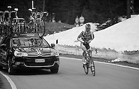 2013 Giro d'Italia.stage 11.Tarvisio - Vajont: 182km..Pim Ligthart (NLD) up the final meters of the Sella Ciampigotto (1790m) getting his jacket on before decsending.