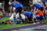 Billy Vunipola of England scores a try late in the second half
