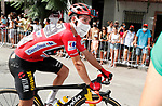 Red Jersey Primoz Roglic (SLO) Jumbo-Visma gets away with his crash on the final descent of Stage 10 of La Vuelta d'Espana 2021, running 189km from Roquetas de Mar to Rincón de la Victoria, Spain. 24th August 2021.     <br /> Picture: Luis Angel Gomez/Photogomezsport   Cyclefile<br /> <br /> All photos usage must carry mandatory copyright credit (© Cyclefile   Luis Angel Gomez/Photogomezsport)