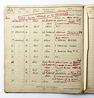 BNPS.co.uk (01202) 558833<br /> Pic: Bosleys/BNPS<br /> <br /> Pictured: Squadron Leader Alfred Clarke's pilot log from August 1943<br /> <br /> The heroics of an RAF pathfinder pilot who kept a major bombing raid on track and got his crew home with his aircraft on fire can be revealed after his medals sold for £4,300.<br /> <br /> Squadron Leader Alfred Clarke's Lancaster plane came under attack by a German night-fighter near to Cologne, setting one of its engines ablaze.<br /> <br /> The crew's rear gunner was also badly wounded and unable to defend them from a hostile barrage.<br /> <br /> Nevertheless, Sq Ldr Clarke ploughed on as following his aircraft were 282 Allied bombers relying on his crew to drop sky markers on their targets.