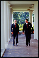 """Undated File photo  (circa 1983)-<br /> US Republica Senator John Sidney McCain III  (L) and<br /> US President Ronald Reagan (R)<br /> <br /> John Sidney McCain III (born August 29, 1936) is the senior United States Senator from Arizona and presumptive Republican Party nominee for President of the United States in the 2008 election.<br /> <br /> McCain graduated from the United States Naval Academy in 1958 and became a naval aviator, flying ground-attack aircraft from aircraft carriers. During the Vietnam War, he nearly lost his life in the 1967 USS Forrestal fire. Later that year while on a bombing mission over North Vietnam, he was shot down, badly injured, and captured as a prisoner of war by the North Vietnamese. He was held from 1967 to 1973, experiencing episodes of torture and refusing an out-of-sequence early repatriation offer; his war wounds would leave him with lifelong physical limitations.<br /> <br /> He retired from the Navy as a captain in 1981 and, moving to Arizona, entered politics. He was elected to the U.S. House of Representatives in 1982. After serving two terms, he was elected to the U.S. Senate in 1986, winning re-election easily in 1992, 1998, and 2004. While generally adhering to conservative principles, McCain has gained a media reputation as a """"maverick"""" for disagreeing with his party on several key issues. After being investigated in a political influence scandal of the 1980s, as a member of the """"Keating Five"""", he made campaign finance reform one of his signature concerns, which eventually led to the passage of the McCain-Feingold Act in 2002. He is also known for his work towards restoring diplomatic relations with Vietnam in the 1990s, and for his belief that the war in Iraq should be fought to a successful conclusion in the 2000s. McCain has chaired the powerful Senate Commerce Committee, and has been a leader in seeking to rein in both pork barrel spending as well as Senate filibusters of judicial nominations.<br /> <br /> McCain l"""