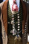 Deutschland, Bayern, Oberbayern, Chiemgau, Siegsdorf: Trachtenwallfahrt zum Wallfahrtsort Maria Eck, Tracht, Detail, Charivari   Germany, Bavaria, Upper Bavaria, Chiemgau, Siegsdorf: costume procession to Maria Eck, place of pilgrimage, traditional costume, close up